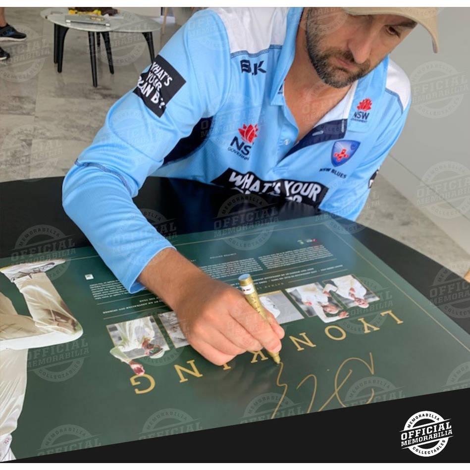 Nathan Lyon Signed Test Centurion Lithograph1