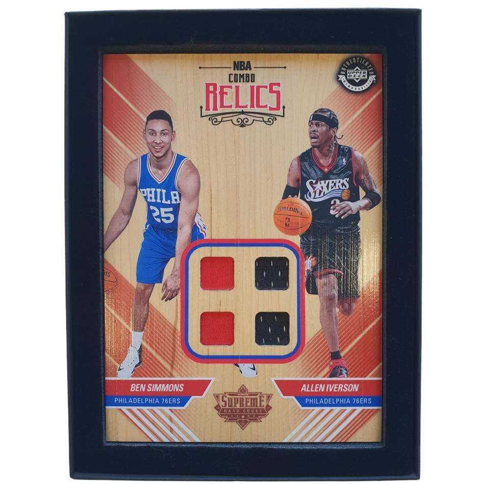 Ben Simmons and Allen Iverson NBA Supreme Hard Court Combo Relics Piece0