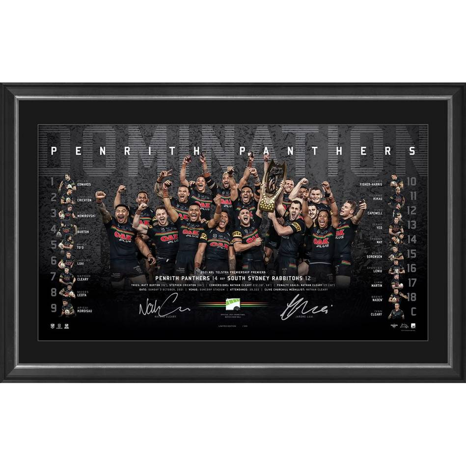 Penrith Panthers 2021 Premiers Dual Signed Lithograph0